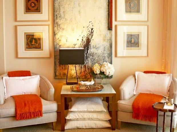 pared color naranja claro mantas
