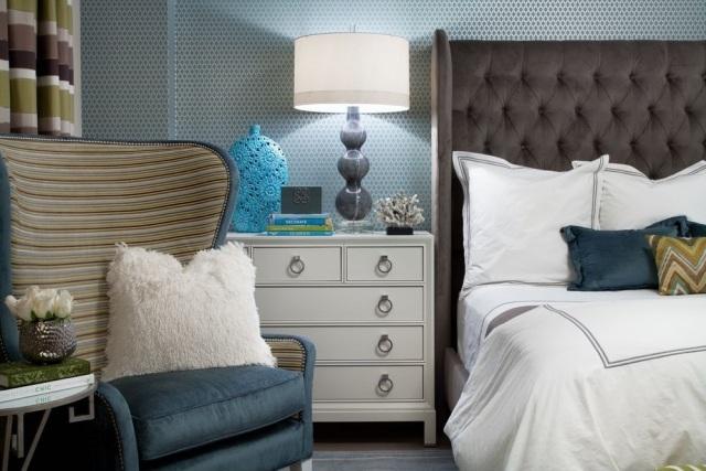 Paleta de colores para el dormitorio es hora de un cambio - Habitacion con papel pintado ...