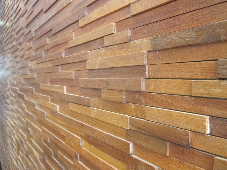 Revestimiento de paredes exteriores 50 ideas for Panel decorativo madera para pared