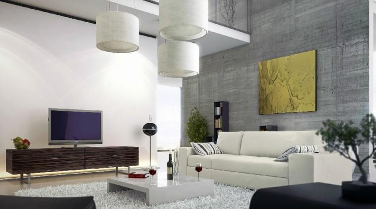 pared color gris muebles salon