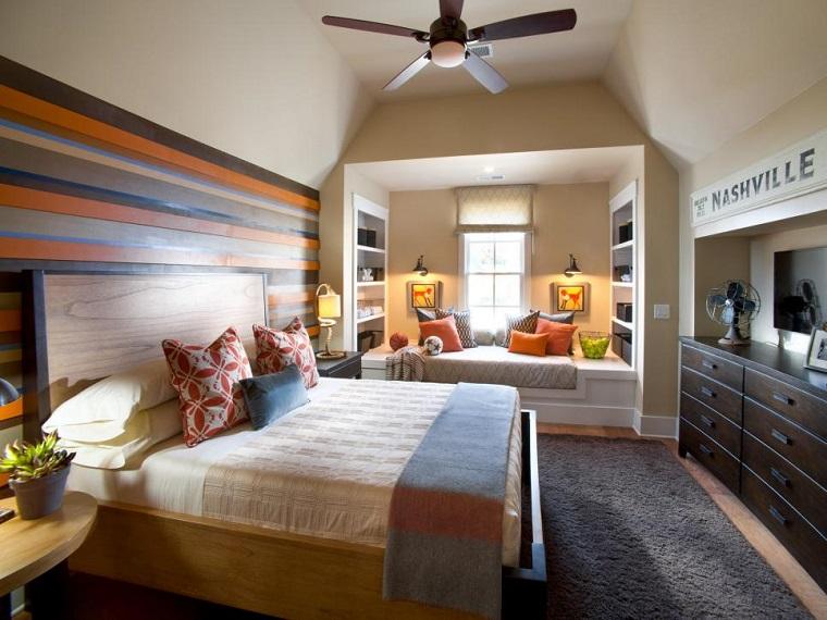 pared laminas madera colores dormitorios juveniles ideas