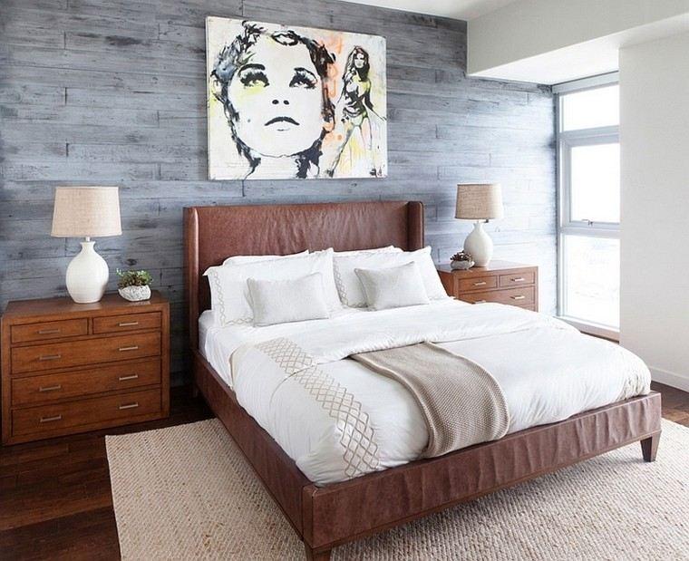 Fantas a y modernidad 50 ideas para el dormitorio - Dormitorio pared gris ...