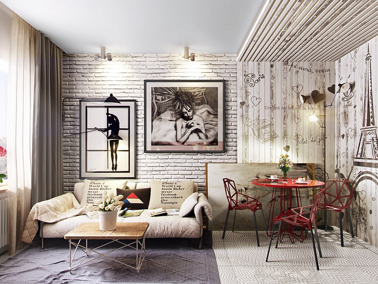 pared madera ladrillo blanco sillas mesa rojos ideas