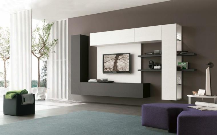 pared color marron sillon violeta pared piedra muebles salon modernos