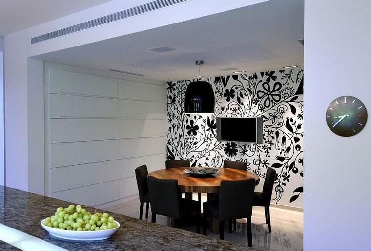 pared preciosa papel blanco negro combinacion ideas