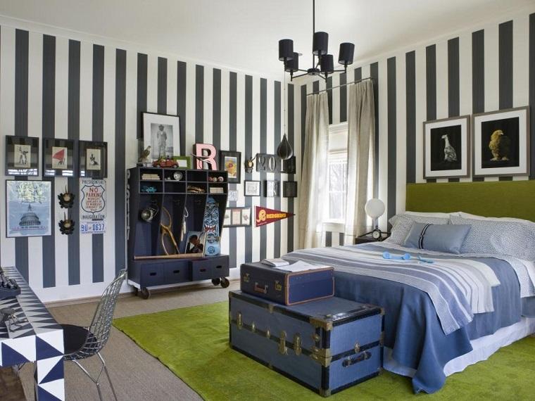pared-rayas blancas azules cama amplia chico dormitorios juveniles ideas
