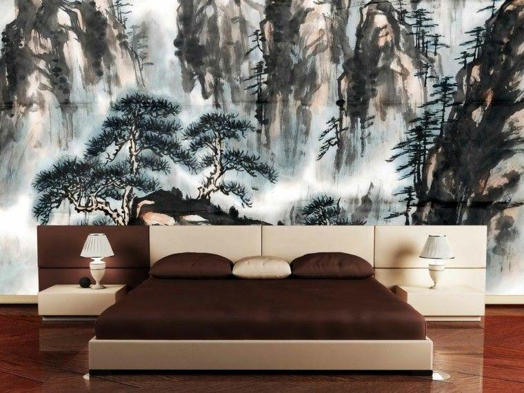 pared rormitorio pintura oleo cama