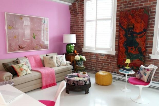pared color rosa sala estar