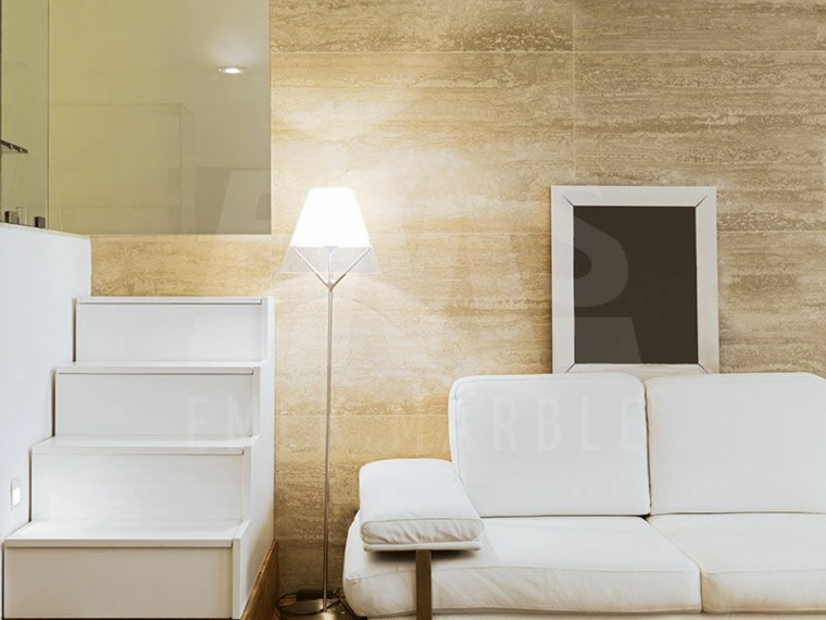 pared salon escalones diseño muebles