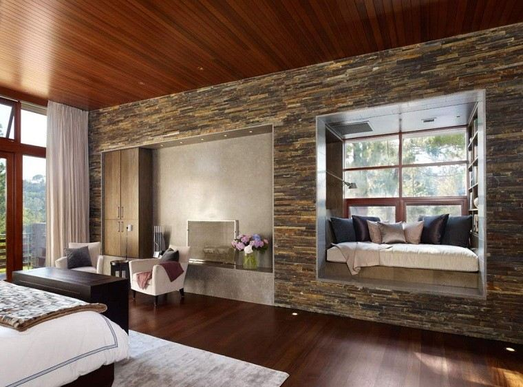 pared salon madera roca casa diseño alfombra