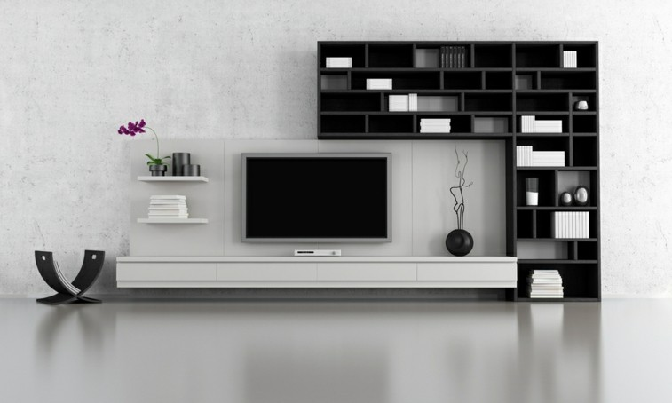 Decorar salas de estar en blanco y negro se atreve for Muebles bibliotecas para living