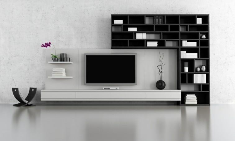 Decorar salas de estar en blanco y negro se atreve for Bibliotecas muebles modernos