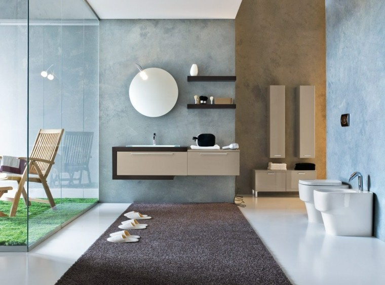 paredes azules bano luminoso lavabo beige ideas