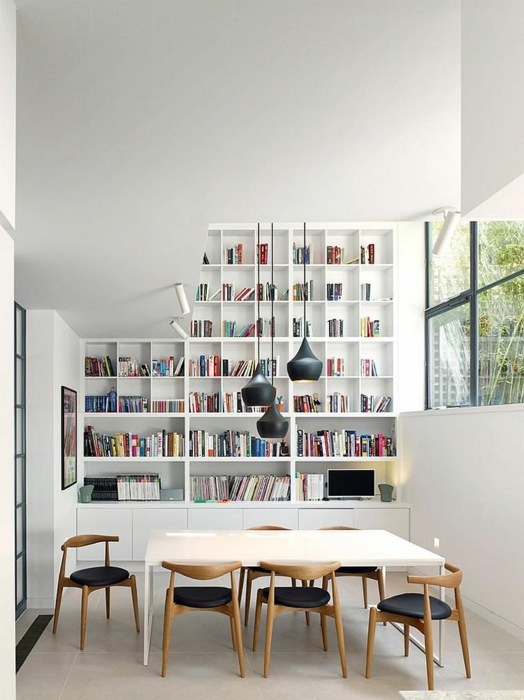 paredes blancas mesa sillas cuero negro madera estanterias ideas