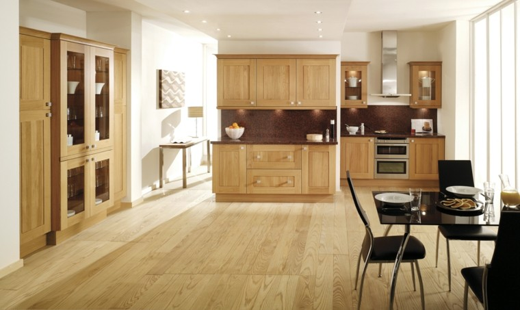 Blanco y madera cincuenta ideas para decorar tu cocina - Combinar color suelo y paredes ...