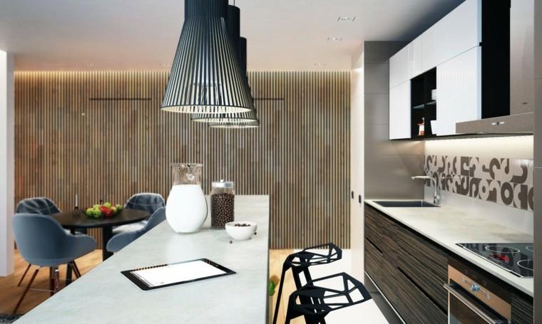 paredes modernas cocina loft rayas