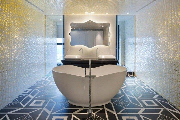 paredes preciosas bano brillantes espejo grande ideas
