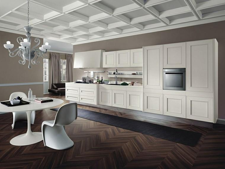 parquet madera muebles blancos cocina