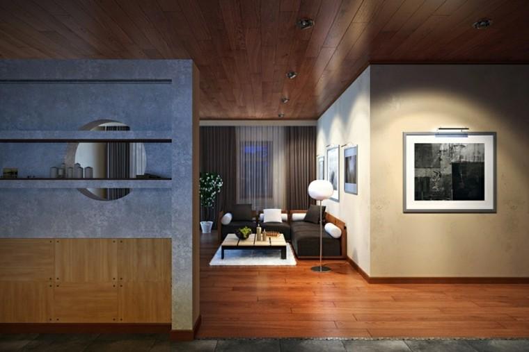 pasillos conectados laminado madera sala
