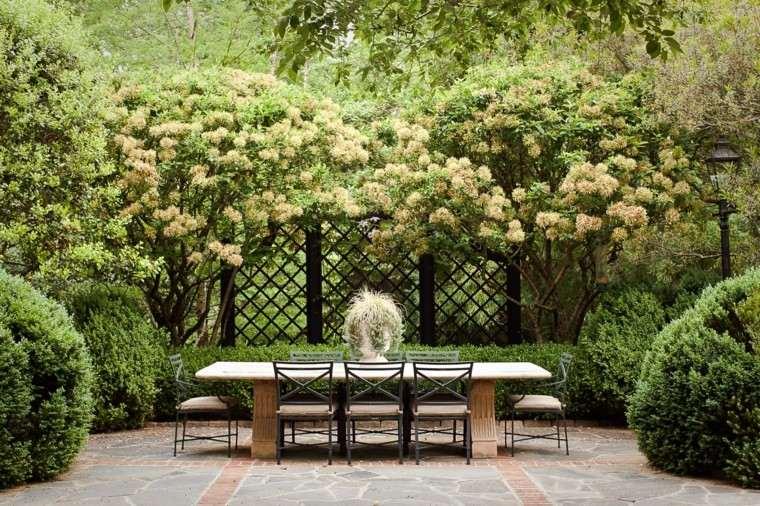 patio grande naturalidad plantas comidas valla ideas estilio