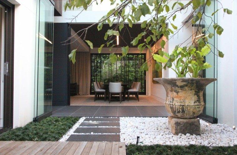 patio jardin estilo zen guijarros
