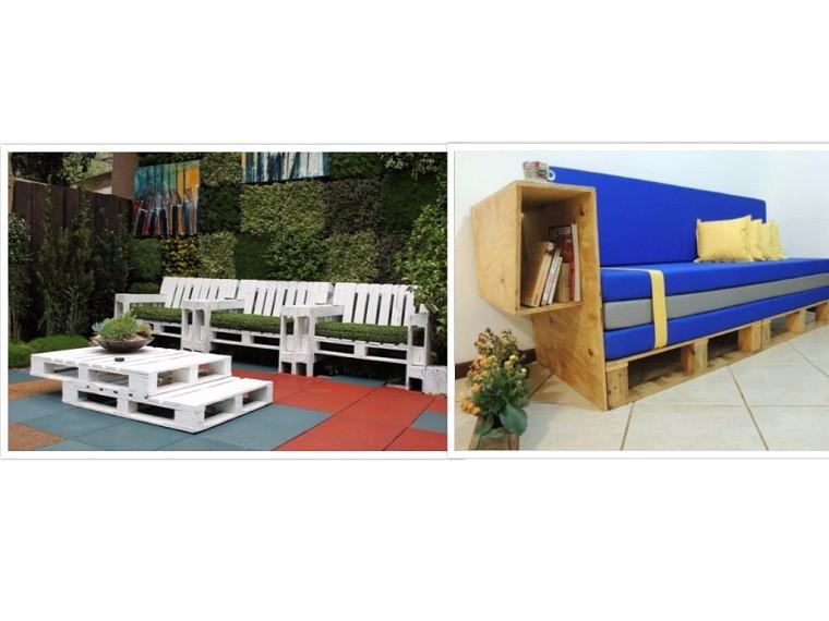 patio mesa plantas sofa azul cojines