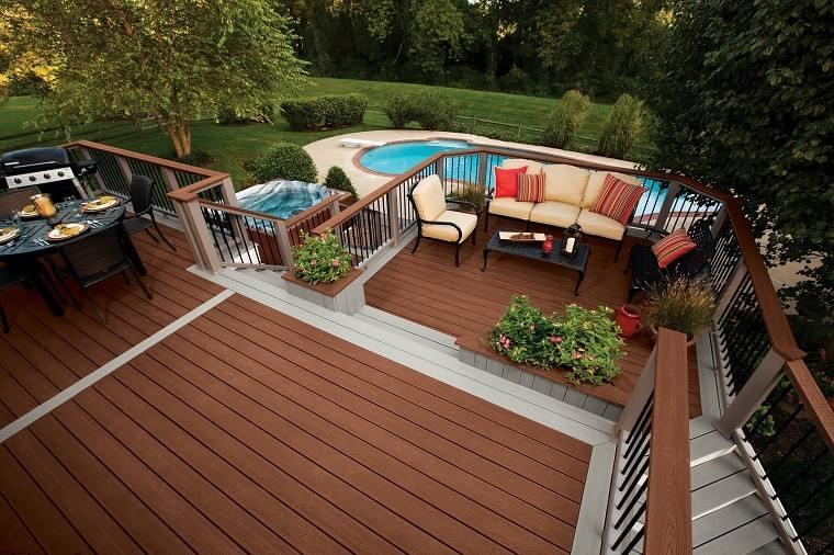 patio muebles balcon plataforma ratan madera