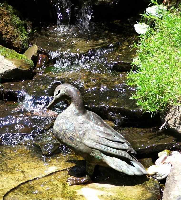 pato piedra cascada jardin agua