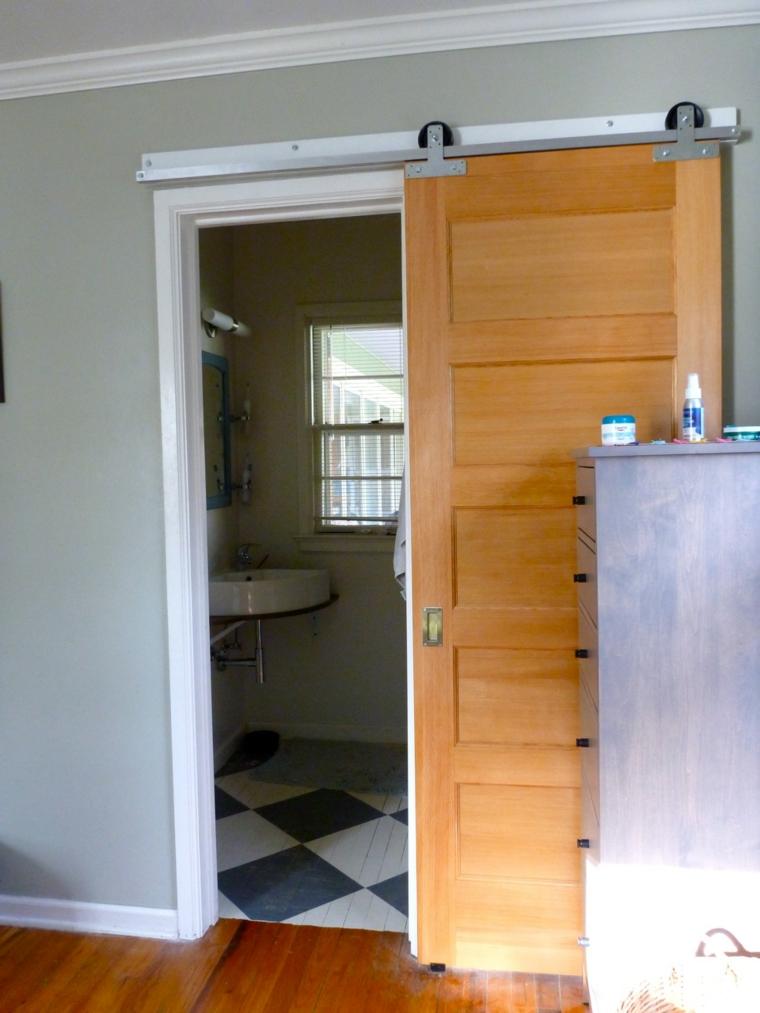 pequea puerta corredera madera bao