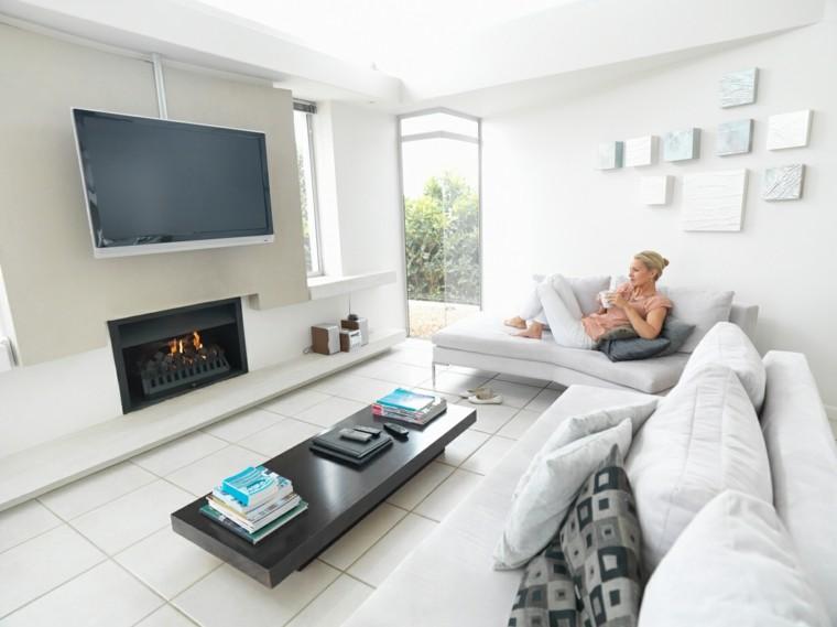 pequeño salon blanco mujer sofa