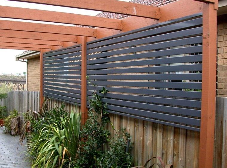 pergola jardin valla acero negro ideas modernas