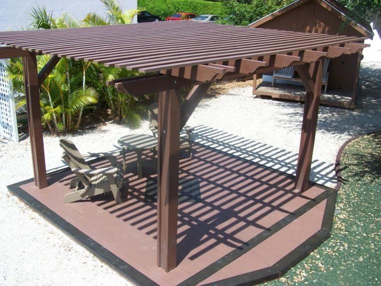 pergola madera base plataforma jardin