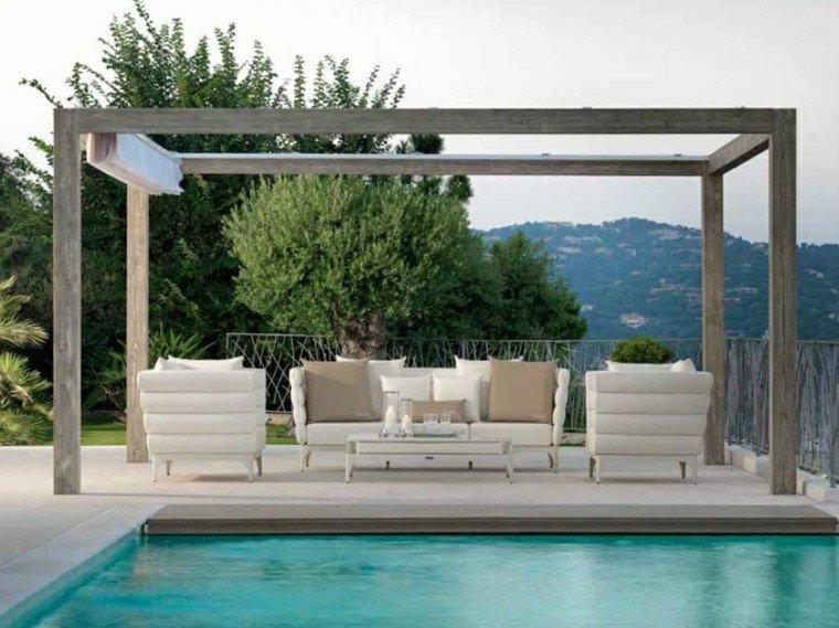 pergola madera diseño minimalista piscina