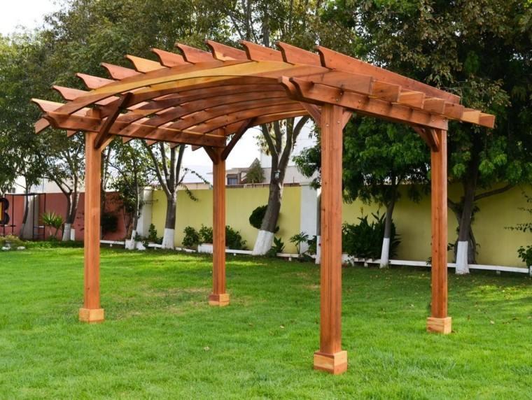 pergola madera techo redondo