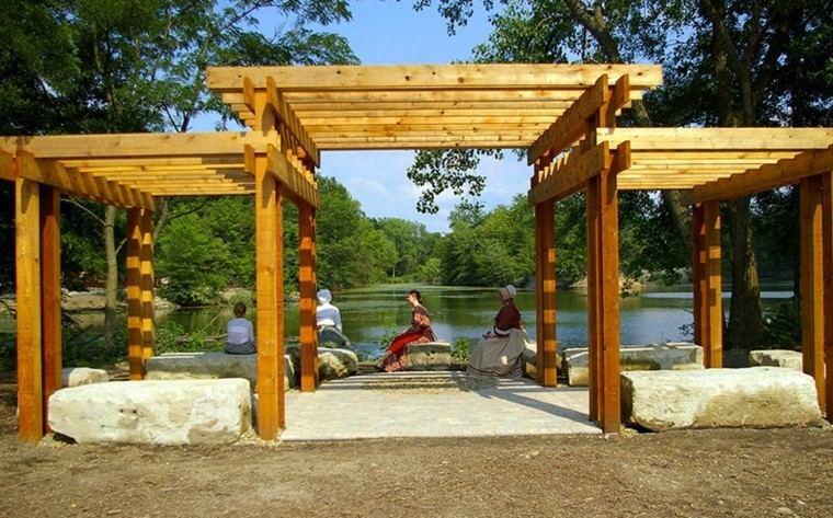pergola madera triple techo parque