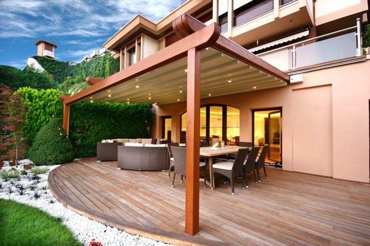 pergola porche diseño moderno jardin