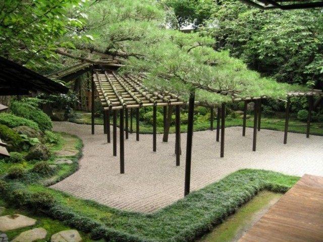 pergolas madera jardin estilo zen