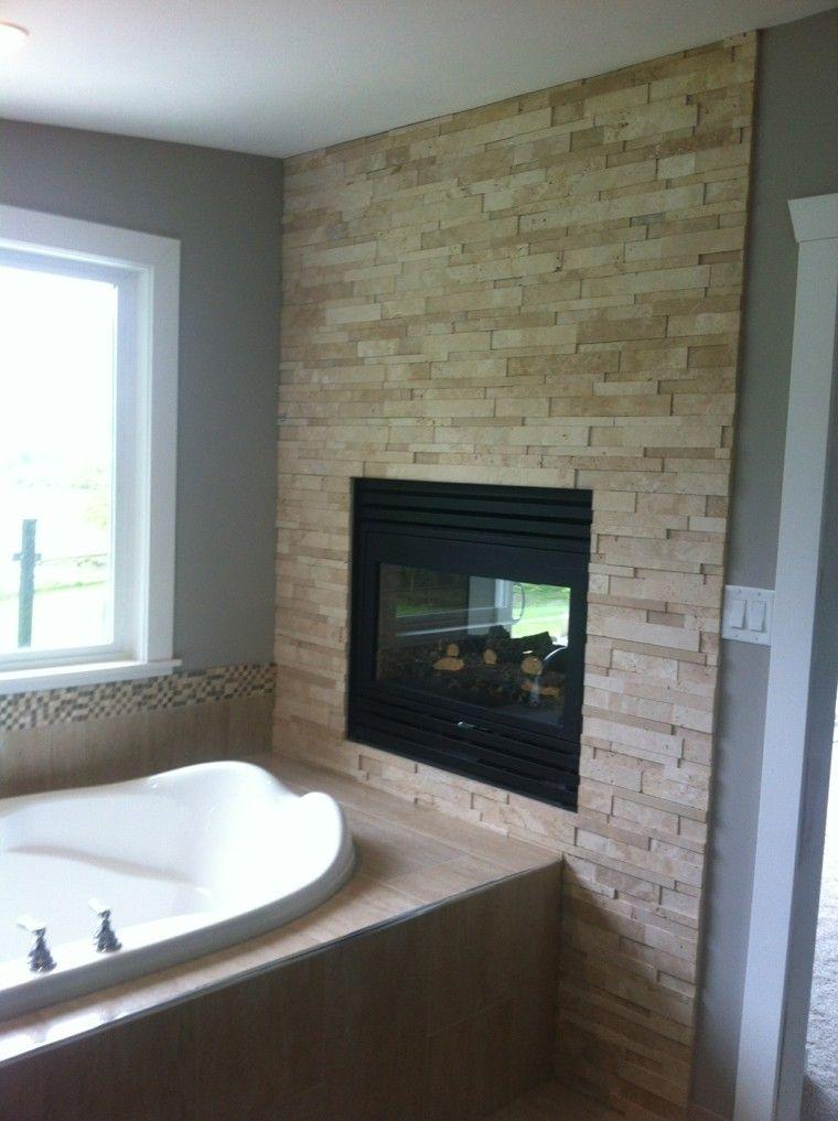 piedra bañera moderno ventana chimenea
