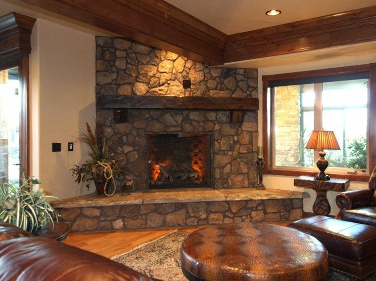 Piedra y madera para los revestimientos de paredes - Beautiful corner fireplace design ideas for your family time ...