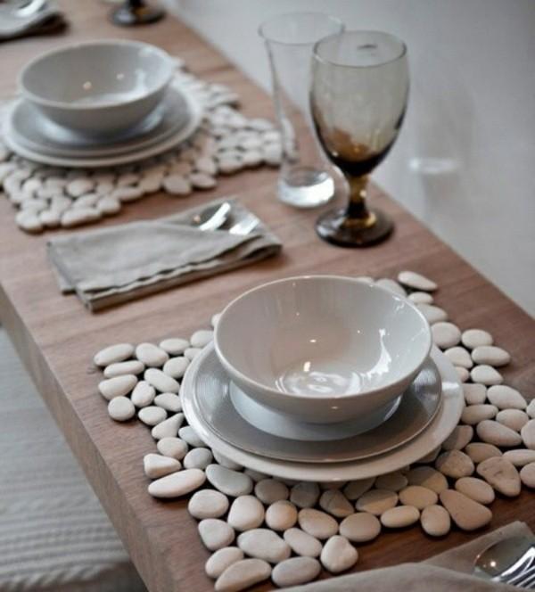 piedras planas guijarros mantel platos