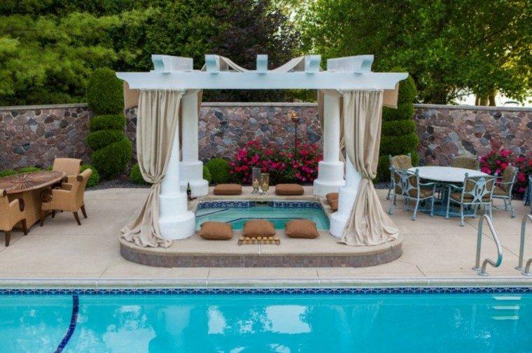 piscina cortina exterior cojines textiles