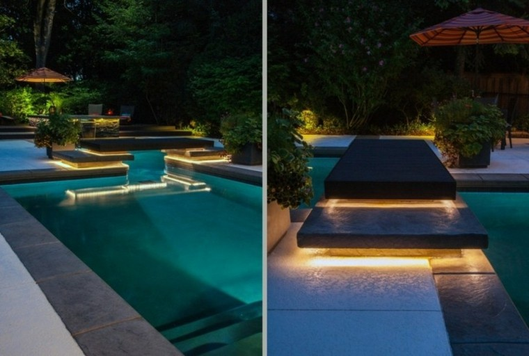 piscina escalones sombrilla led sendero