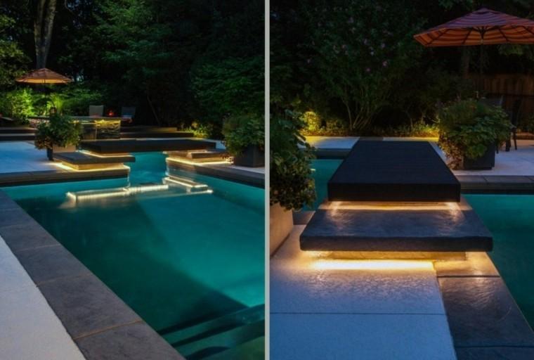piscina escalones sombrilla led sendero
