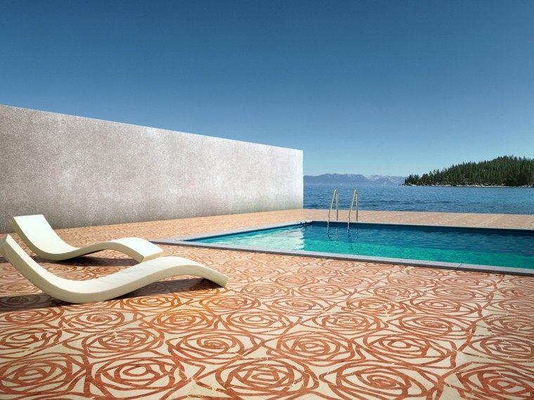 piscina lujo suelo rosas muro