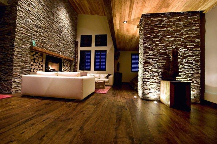 Piedra y madera para los revestimientos de paredes - Decoracion en piedra para interiores ...