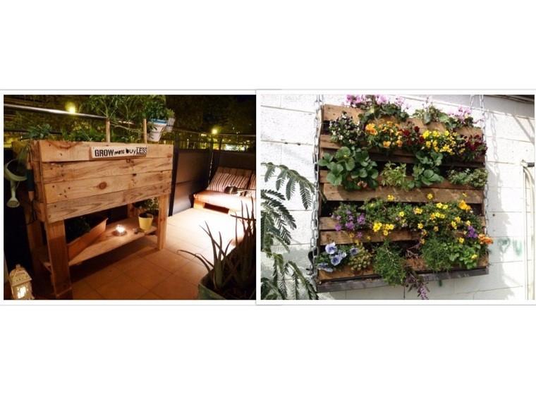 plantas jardinera pared cadenas flores