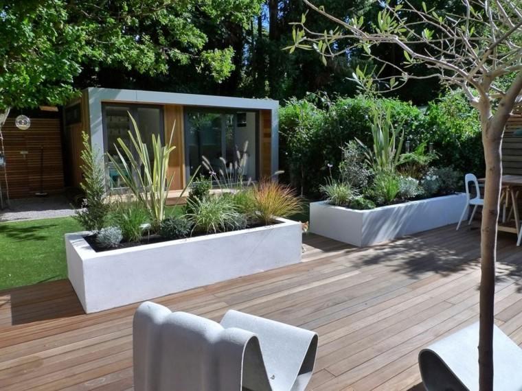 diseño de jardines pequeños de madera de teca