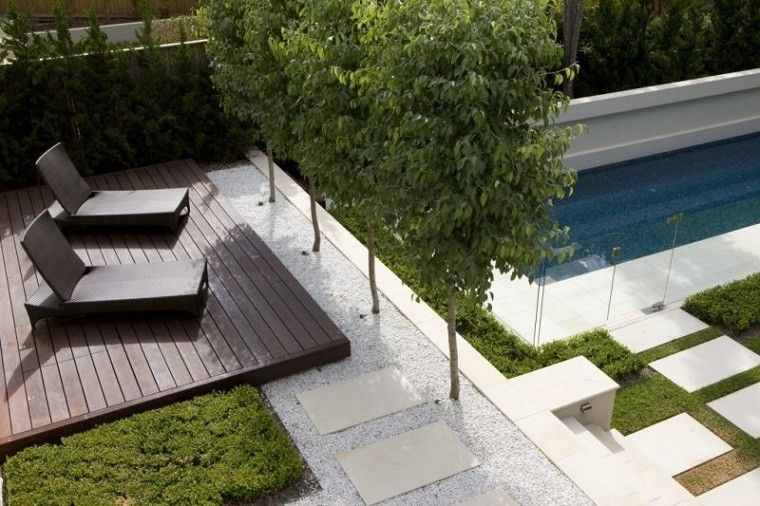 plataforma madera teca piscina jardin