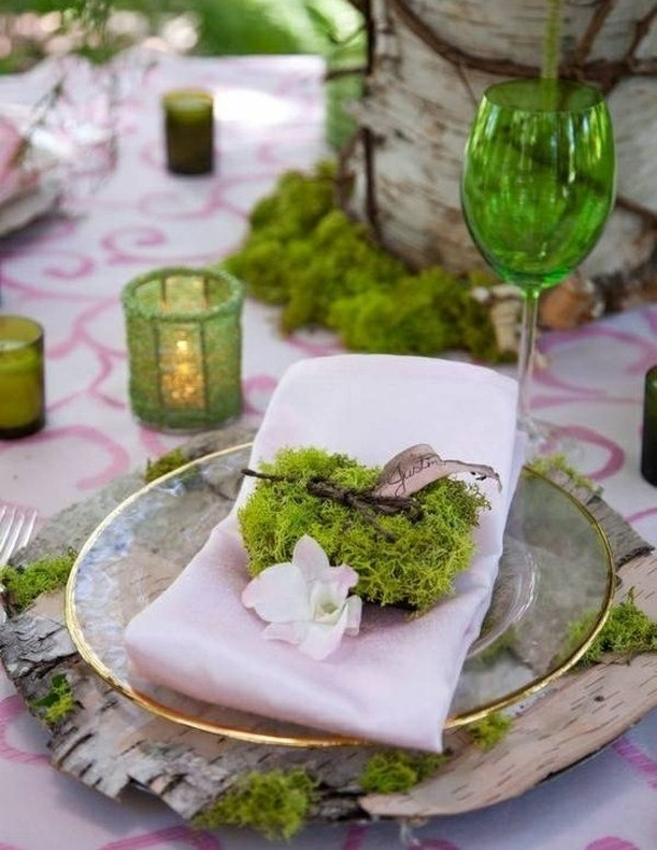 plato cristal musgo verde flor