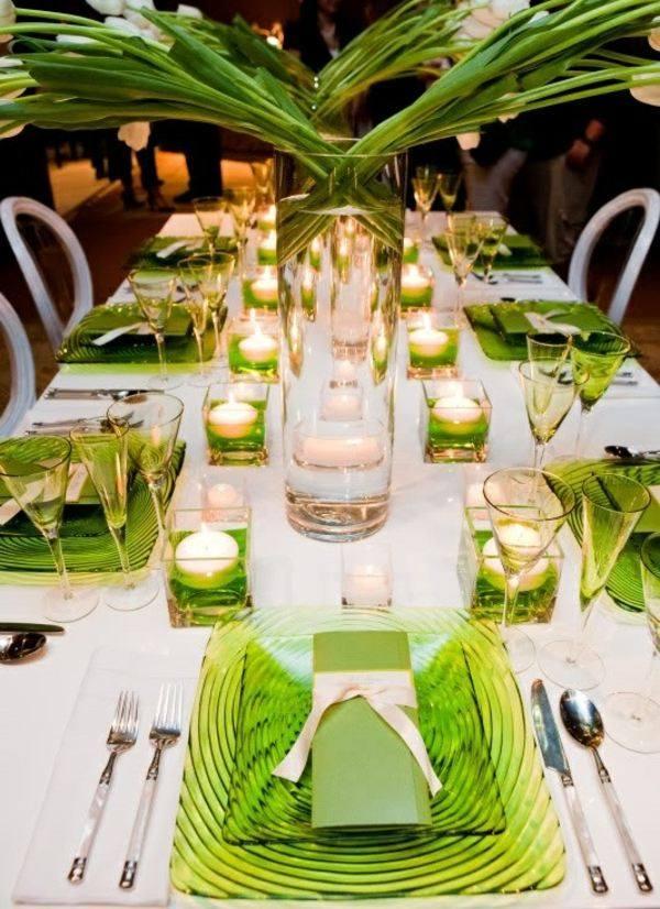 platos cristal color verde cuadrados
